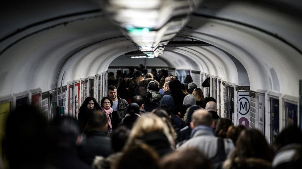 Rail commuters in a tunnel