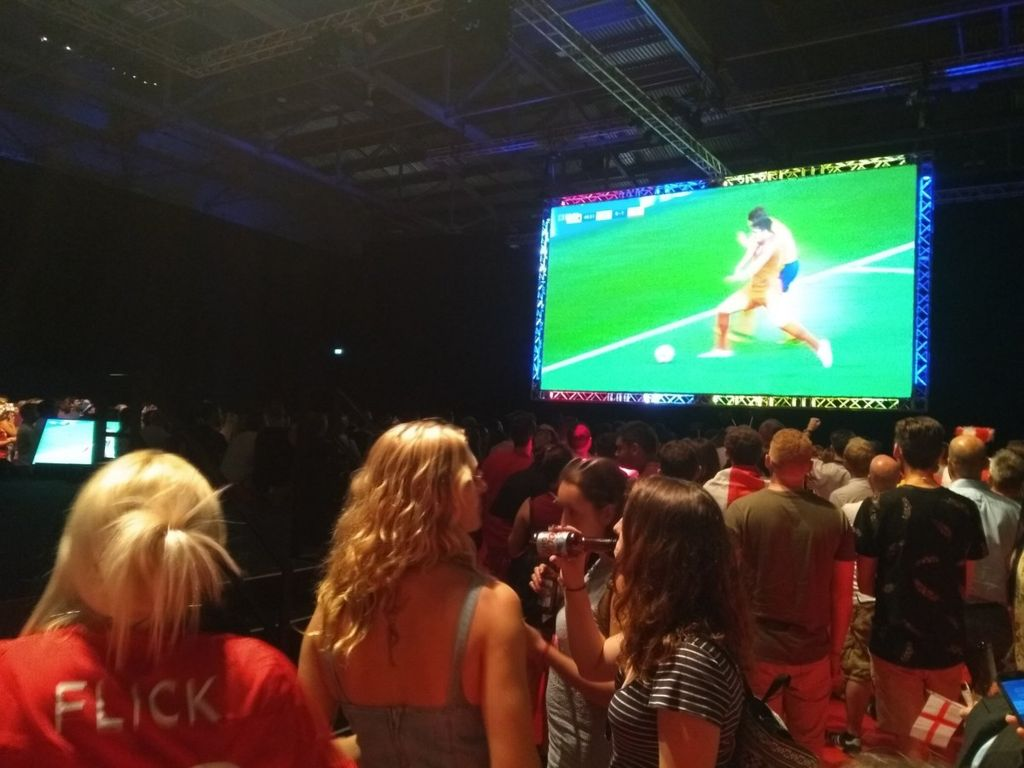 Flight Centre Travel Group staff watching the game at ExCel London
