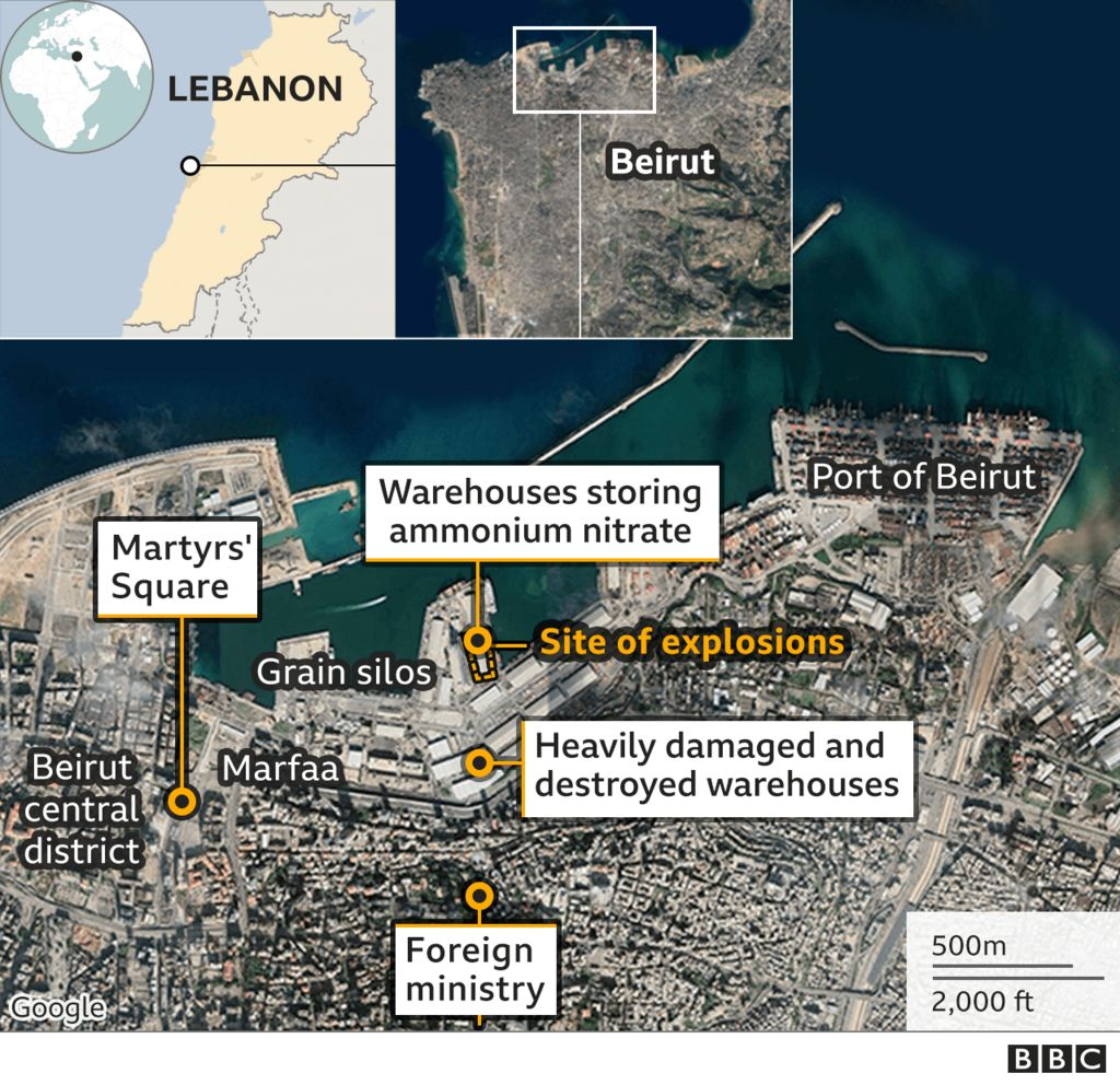 Map showing Beirut - location of 4 August blast, and foreign ministry and Martyrs' Square