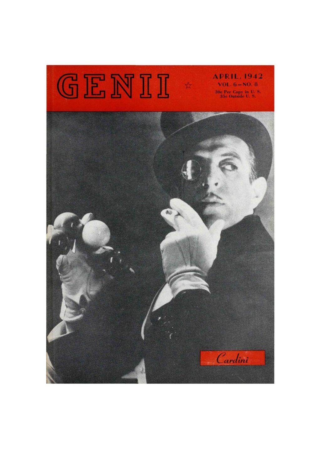 Clawr cylchgrawn Genii o'r 1940au