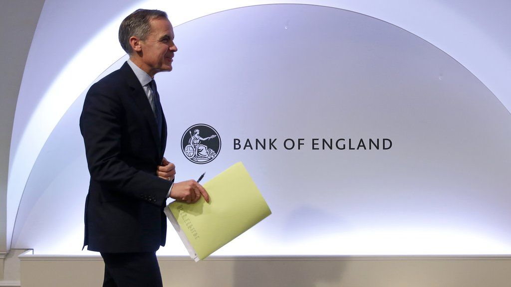 Mark Carney leaves after hosting a Financial Stability Report press conference at the Bank of England