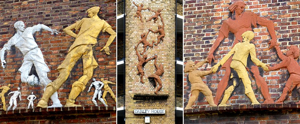 Following the Leader (Memorial to the Children Killed in the Blitz) (c) by Peter Laszlo Peri, 1949 - Vauxhall, London. Relief of Boys Playing Football (l) and Relief of Mother and Children Playing (r) by Peter Laszlo Peri, 1951-2 - South Lambeth Estate, London.