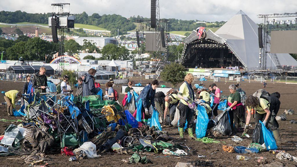 Abandoned tents at Glastonbury in 2017