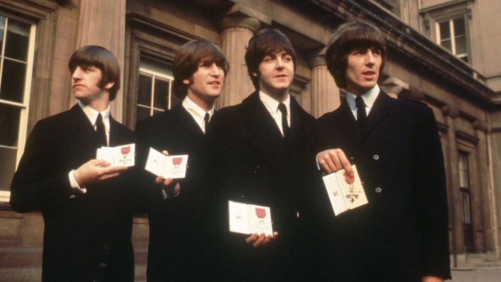 The Beatles at Buckingham Palace in 1965