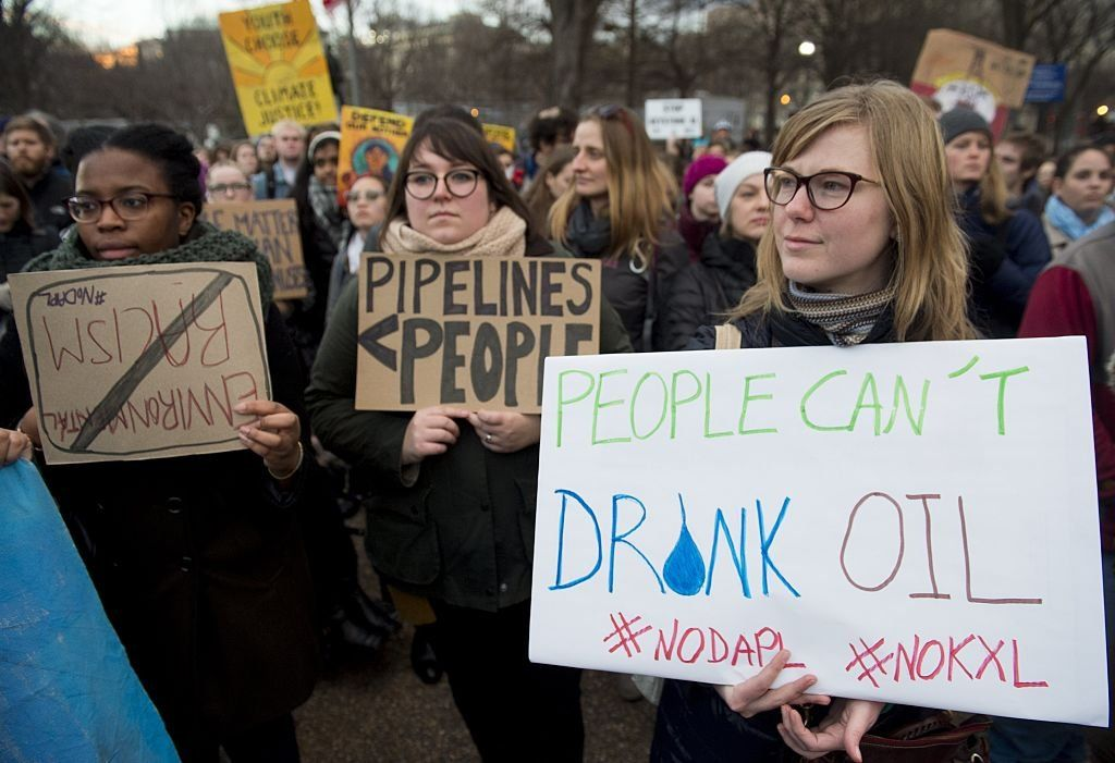 Protesters attend a rally opposing the pipeline in Washington DC in 2017.