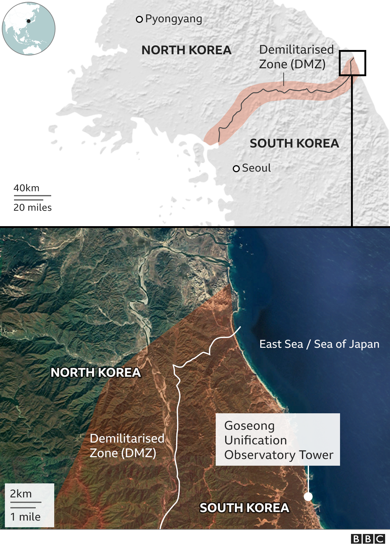 Map of the demilitarised zone between the two Koreas