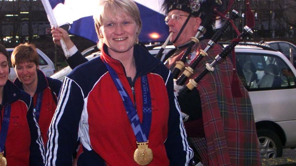 Rhona Martin with her Olympic curling gold medal