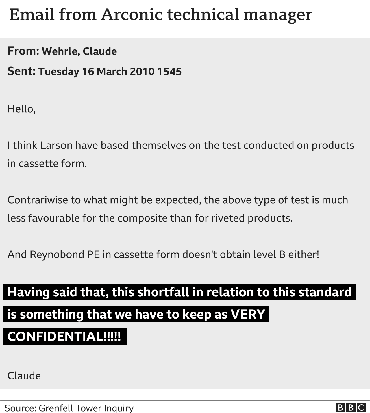Graphic showing email from Arconic technical manager