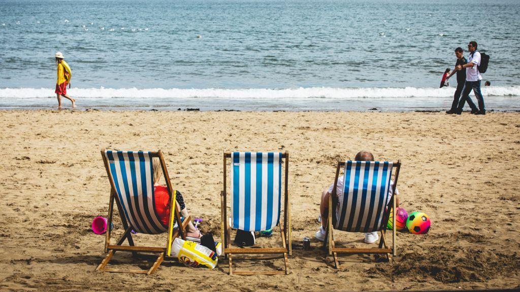 Deckchairs on Scarborough's sandy beach