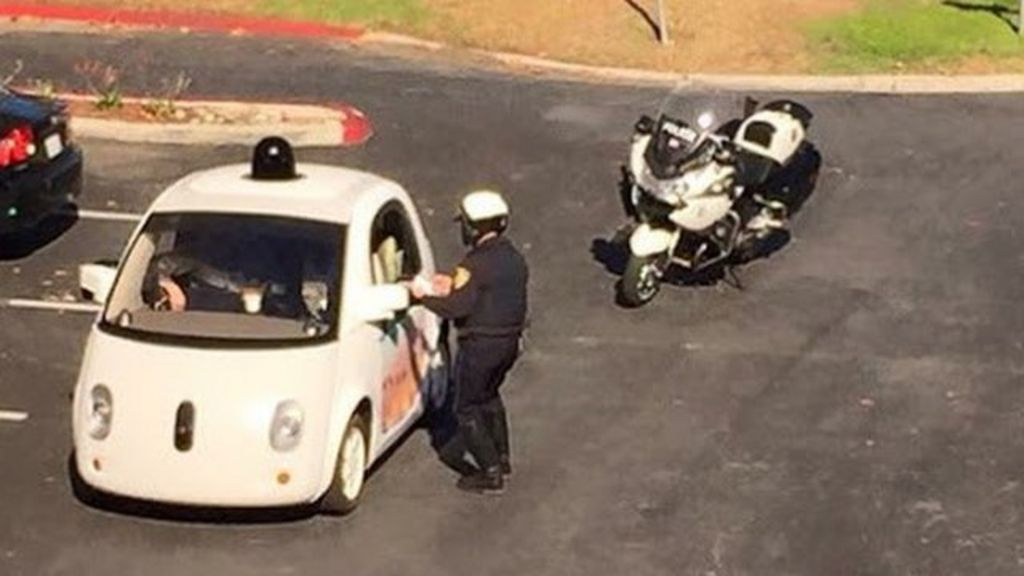 Google car pulled over for being slow