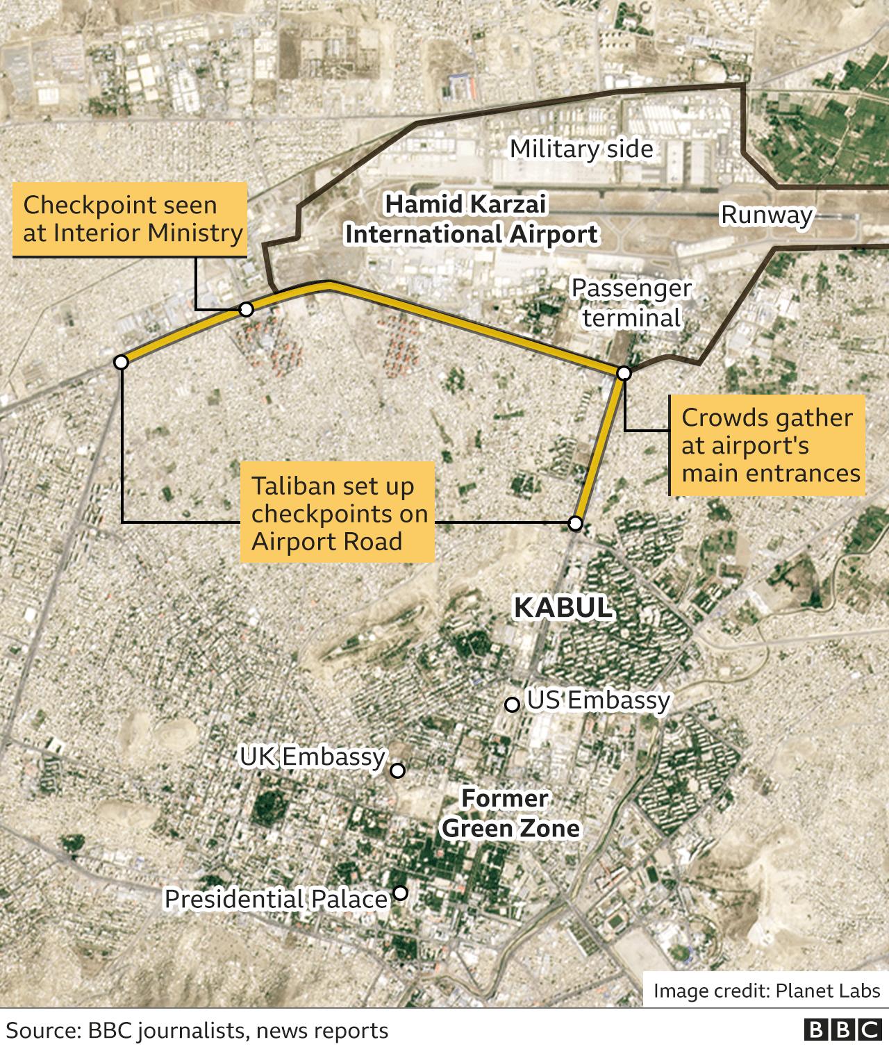 Map showing detail around Kabul airport