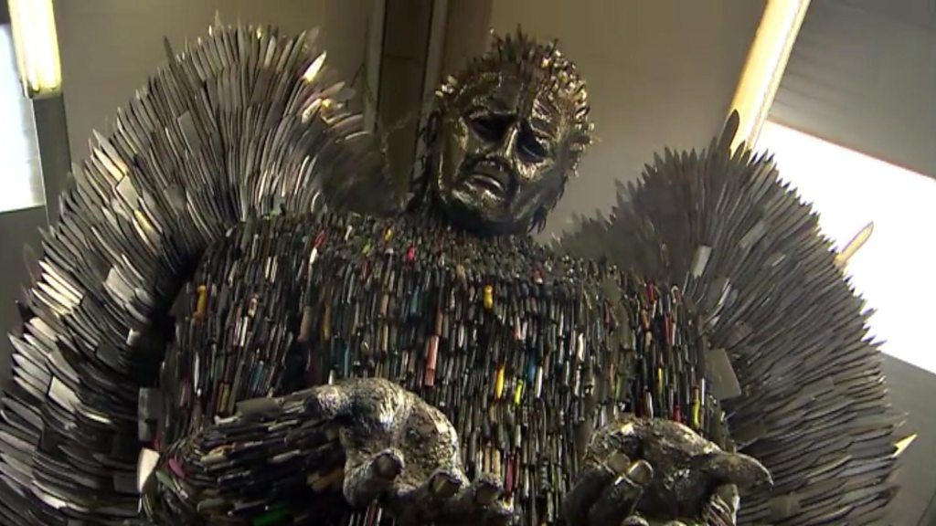 Weapons Turned Into Knife Angel Sculpture BBC News - Artist makes angel sculpture from more than 100000 confiscated weapons