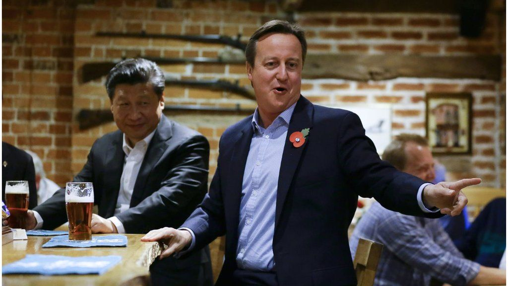 David Cameron at a pub with Chinese president Xi Jinping