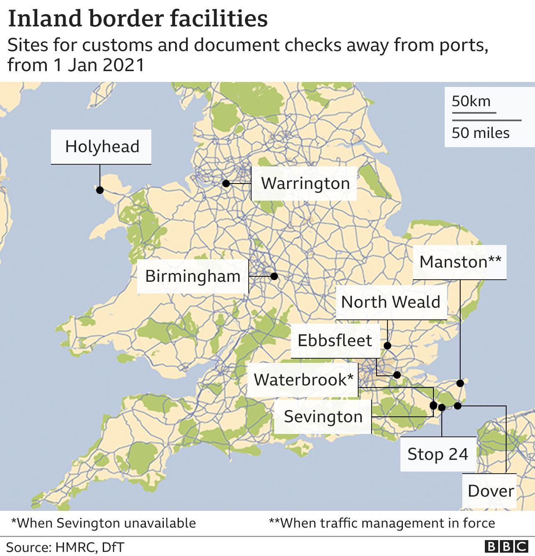 Map of UK inland border facilities