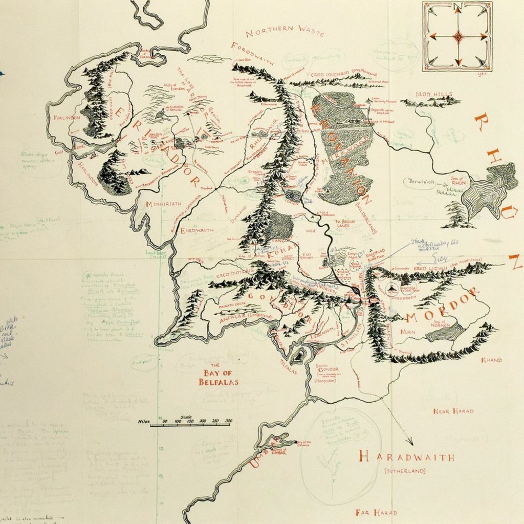 JRR Tolkien's annotated Middle-earth map on show at ...