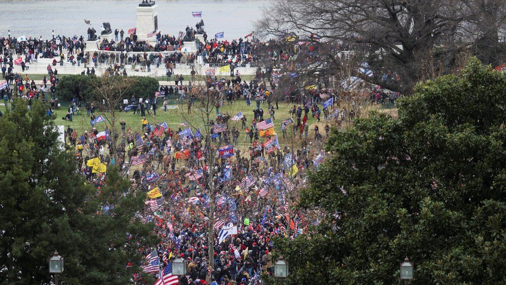 Supporters of US President Donald Trump protest outside the Capitol building