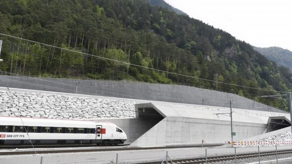 Trains entered each end of the tunnel ahead of a flamboyant opening ceremony
