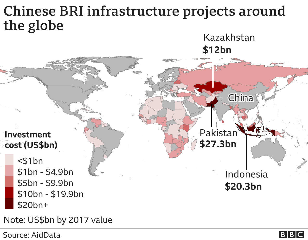Map showing the combined value of China's infrastructure projects in different countries around the world.