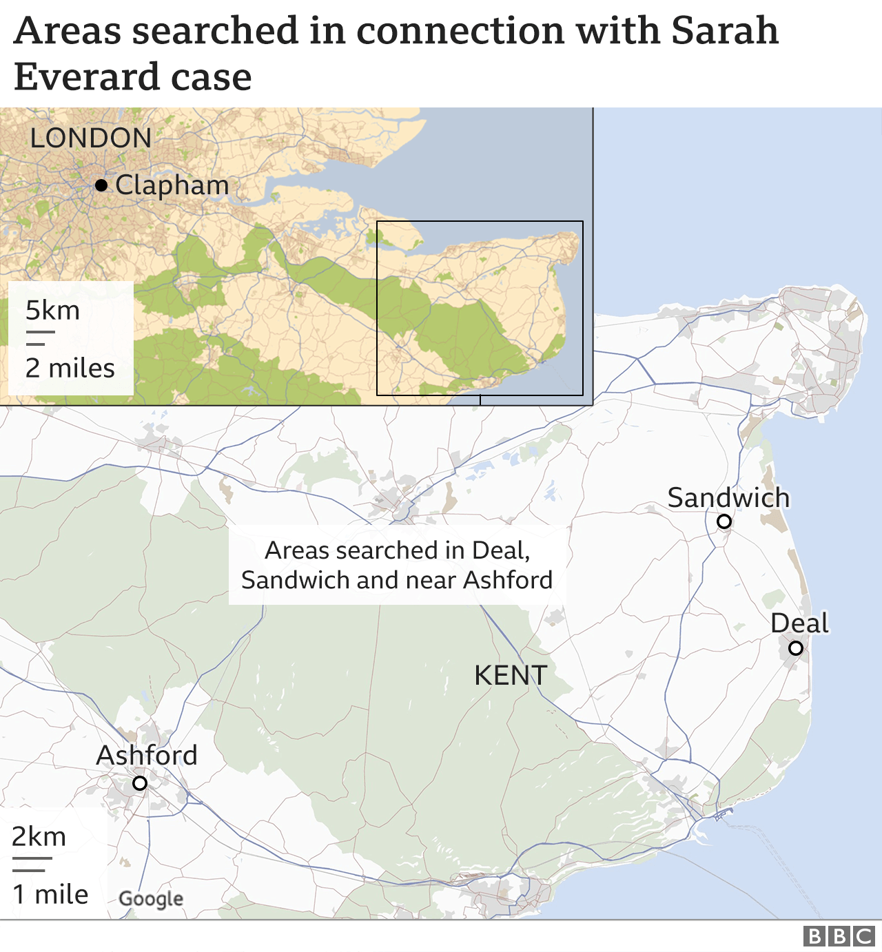 Map of areas being searched in Ashford, Sandwich and Deal