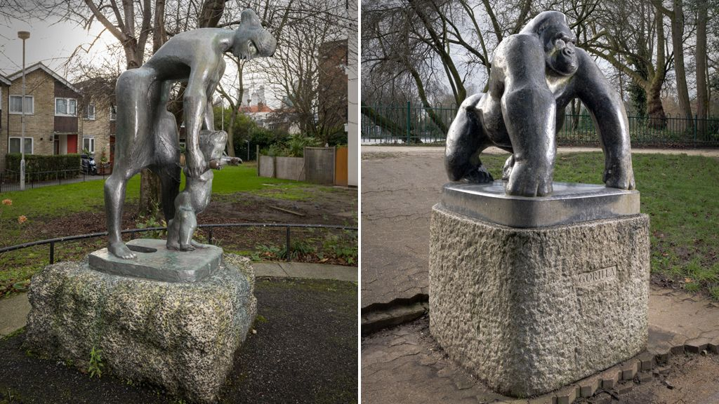 Lesson by Franta Belsky, 1956-7 - Bethnal Green, London. Gorilla by David Wynne, 1962 - Crystal Palace Park (originally in the Children's Zoo), London.