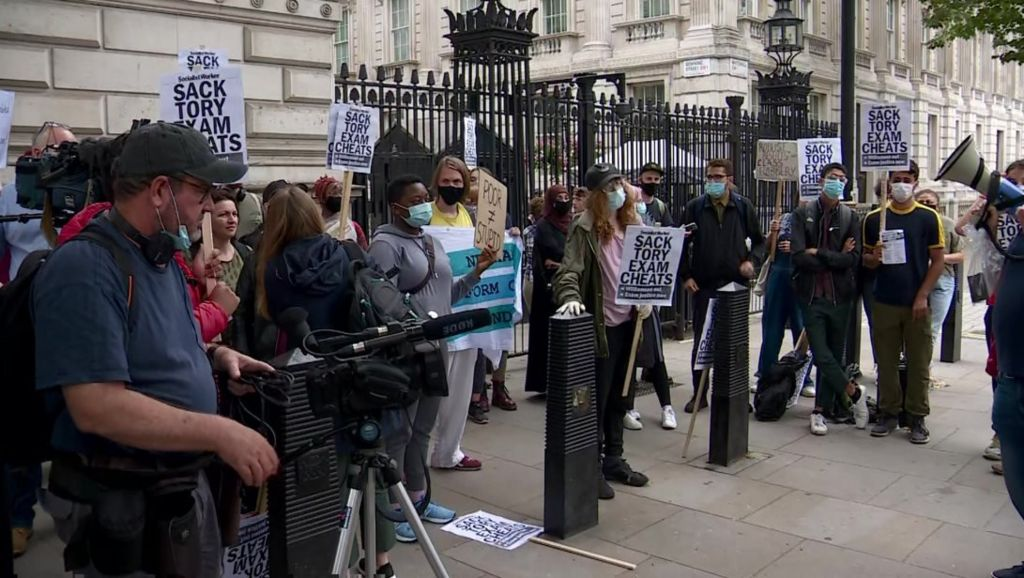 A-level results protest at 10, Downing St