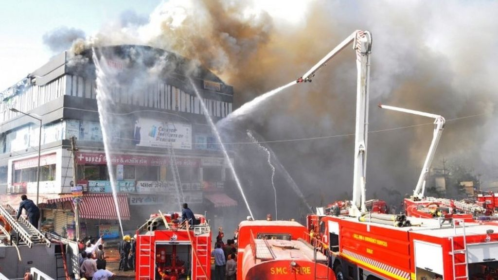India tuition centre fire kills 20 in Gujarat state - BBC News