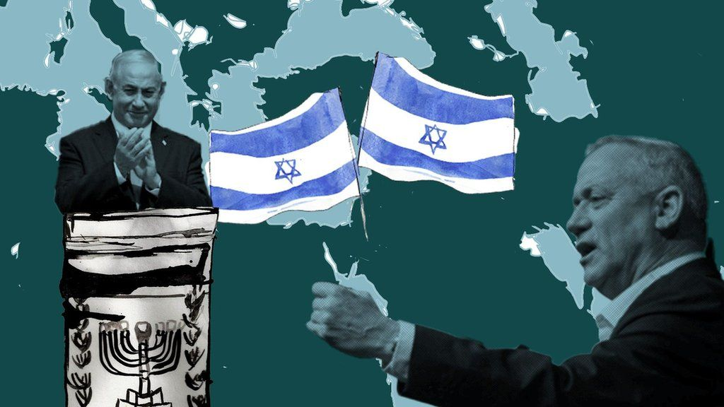 Illustration showing Netanyahu and Gantz over a map of the Middle East