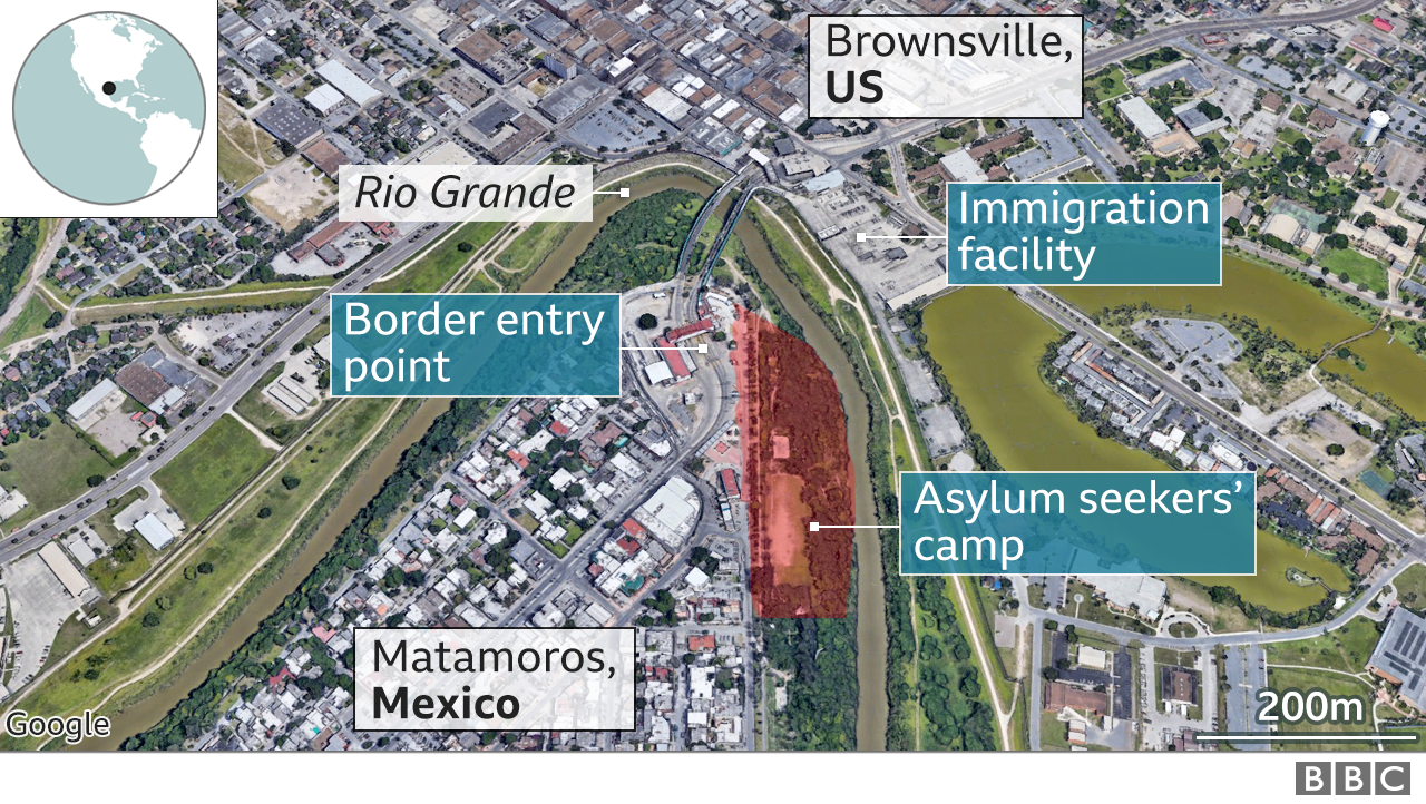 Map showing where a migrant camp is located in Matamoros, Mexico