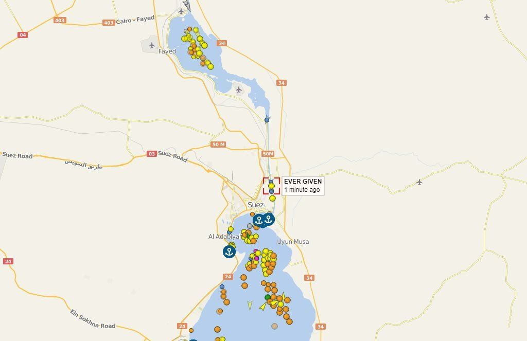 Graphic shows the build up of traffic in the Suez Canal Egypt