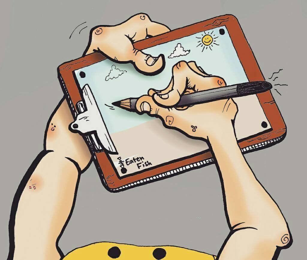 Cartoon by Ali Dorani showing him drawing