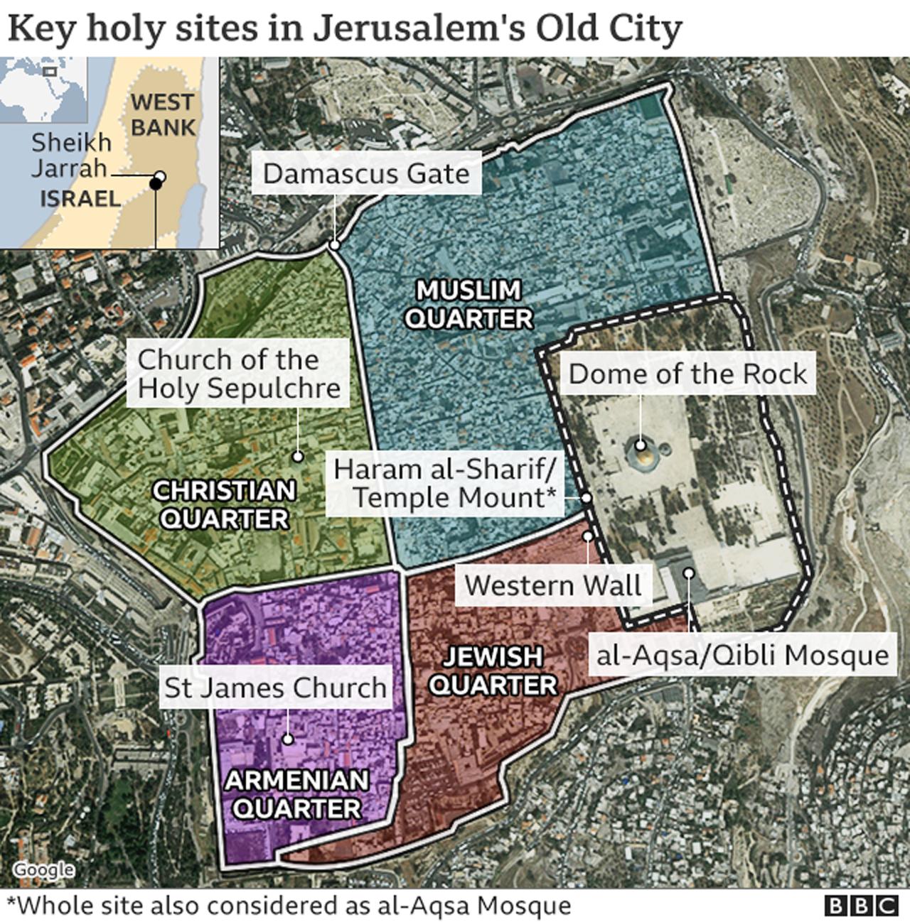 Map of Jerusalem key holy sites