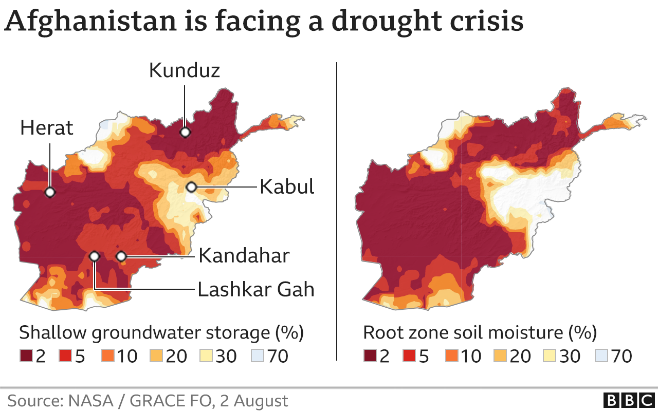 Maps showing drought crisis in Afghanistan