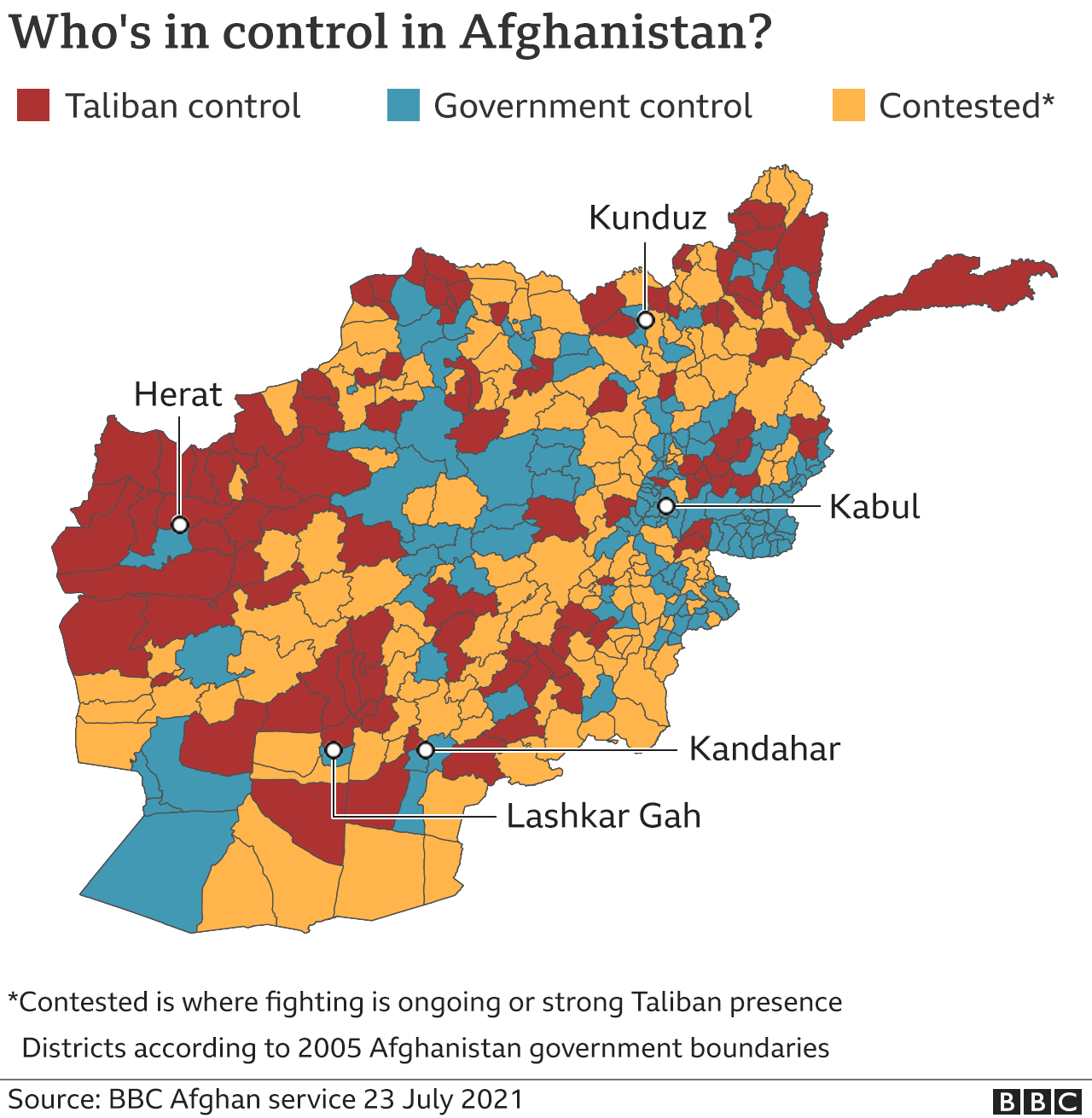 Control map of Afghanistan