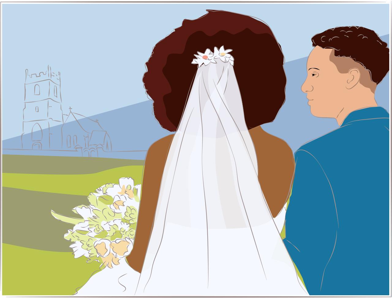 Illustration of an outdoor wedding