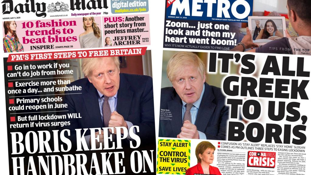 Newspaper Headlines Chaos Or Freedom Lockdown Roadmap Divides Papers Bbc News