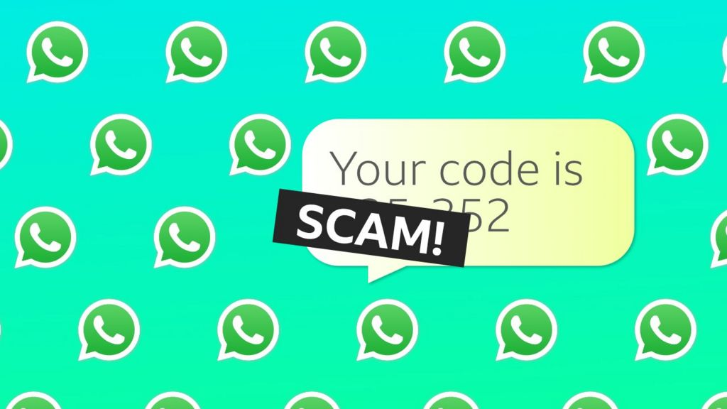 WhatsApp logos with the word scam written on top