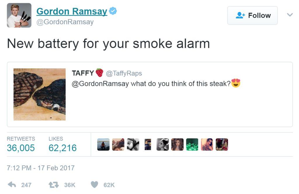 Screengrab of tweet by Gordon Ramsay