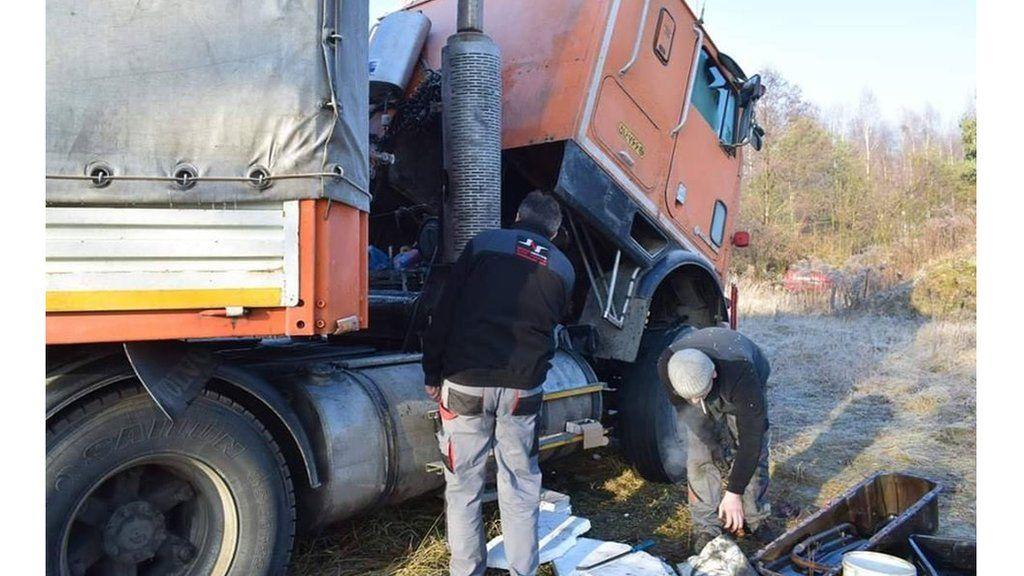 Fardin Kazemi's broken-down American International 9670 lorry