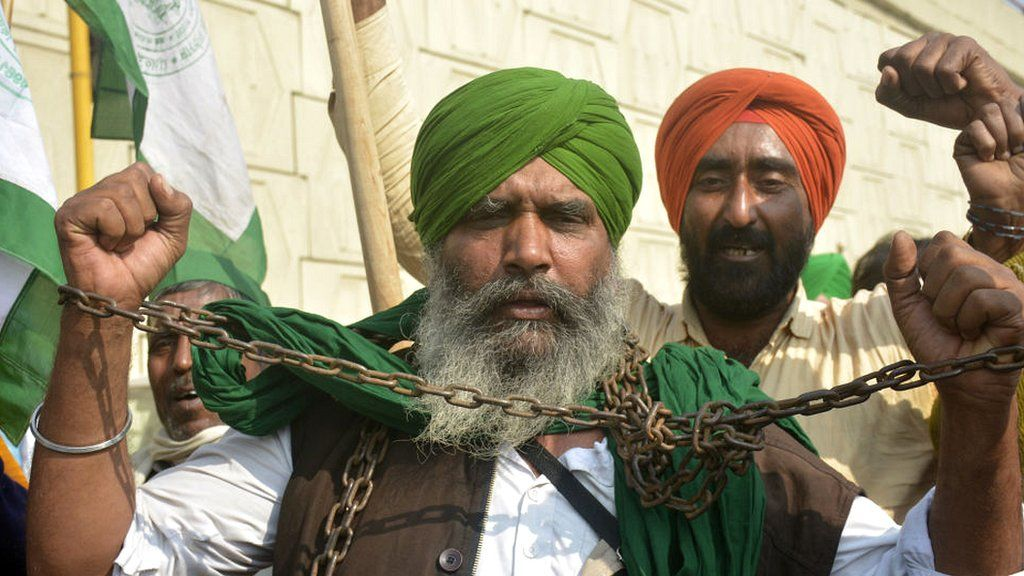 Farmers at a protest on the outskirts of Delhi in India