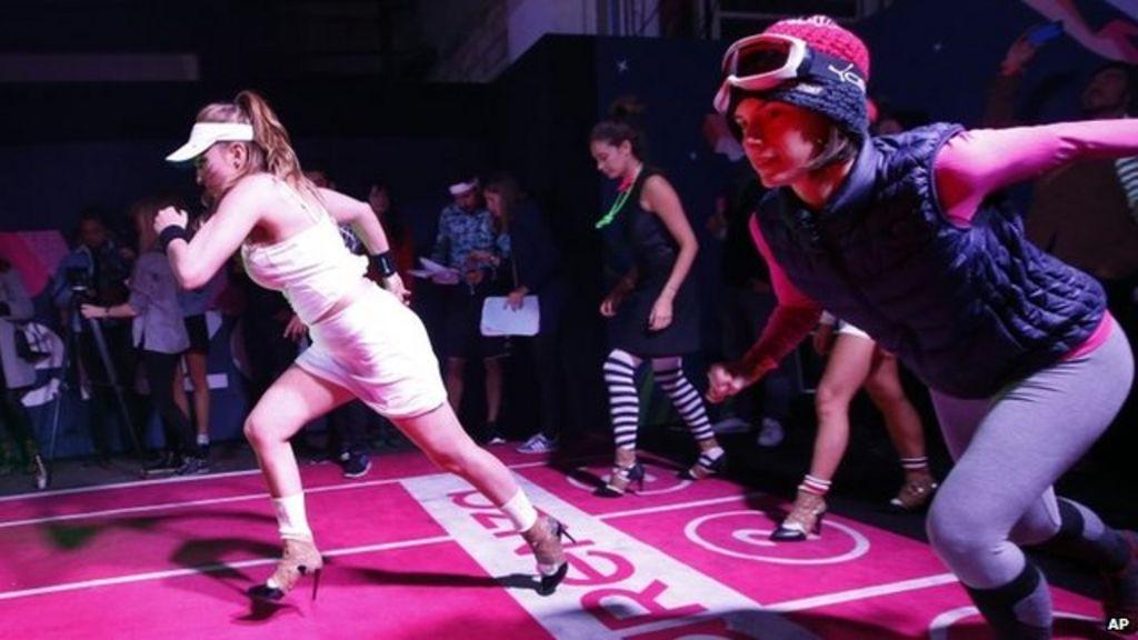 High speed run: Women race in high heels in Paris