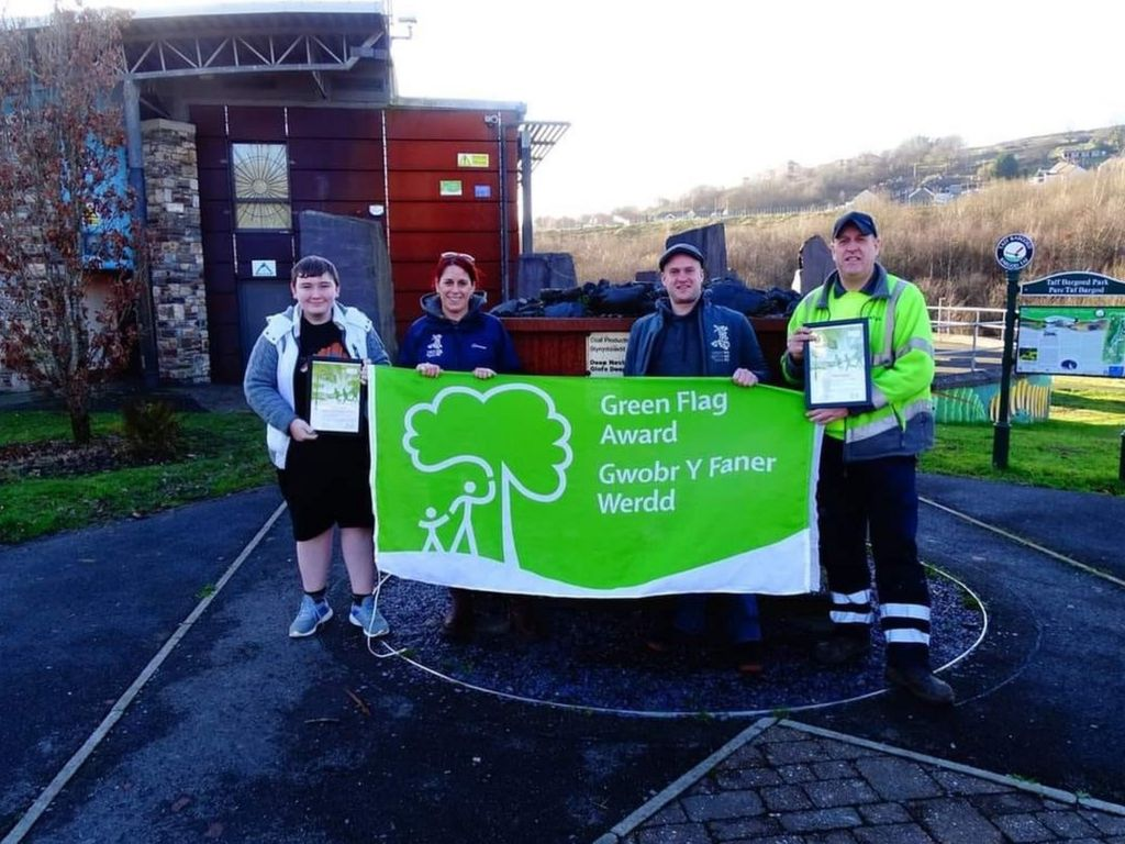 Daniel received a Green Flag Award for his efforts in clearing Merthyr of fly tipping.