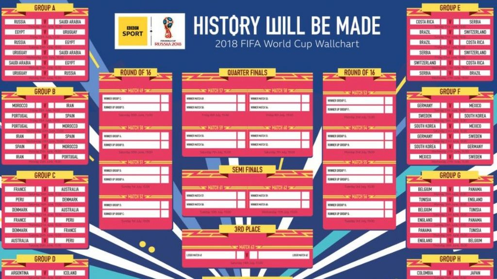 picture relating to World Cup Printable Schedule called Entire world Cup wallchart: Down load yours for Russia 2018 - BBC Match