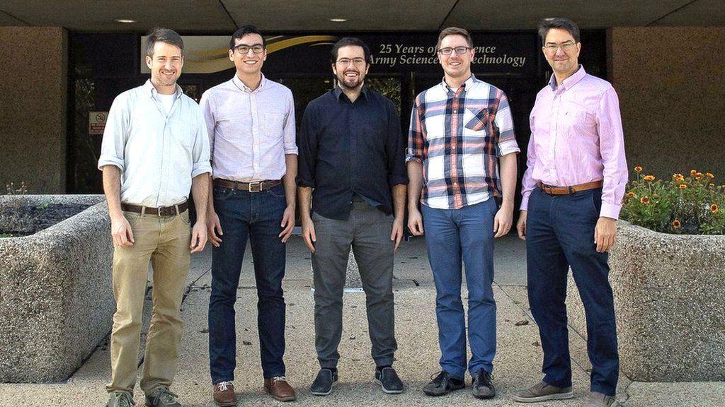 US Army researchers: (L to R) Paul Kunz, Zachary Castillo, Kevin Cox, David Meyer and Fredrik Fatemi
