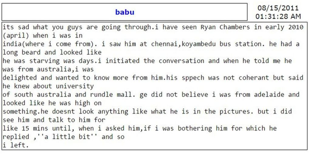 Message on forum for missing Ryan Chambers detailing falsely a sighting