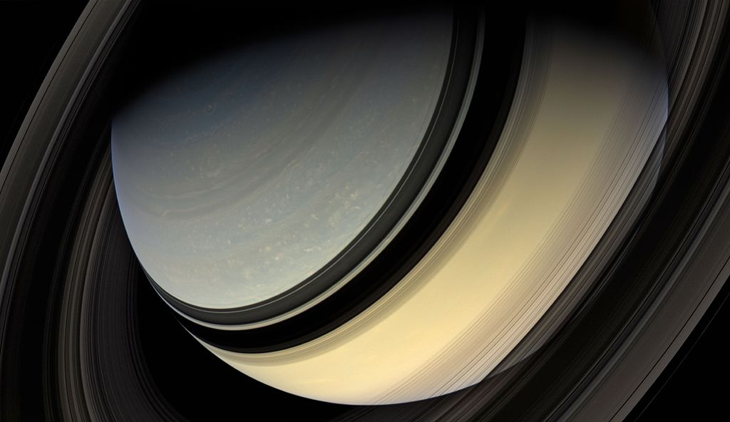 Dark side of the rings, Saturn, 2007