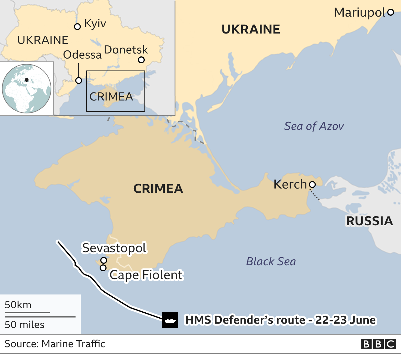 Map showing Crimea, Ukraine and Russia and the warship's path. Updated 24 June