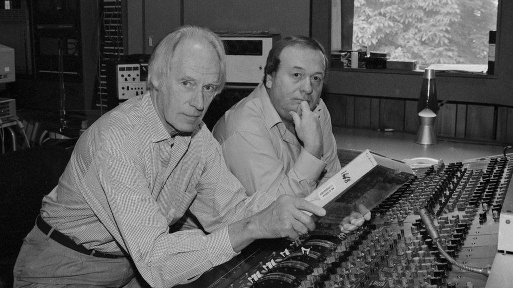 Geoff Emerick at the mixing desk with Beatles producer Sir George Martin
