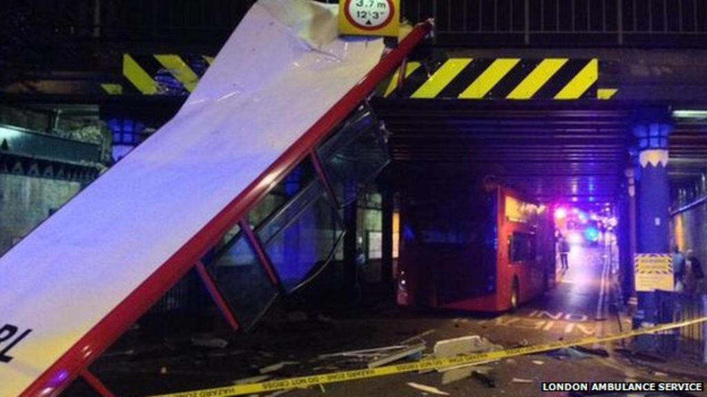 Seven hurt as bus crashes into bridge in South Norwood - BBC News