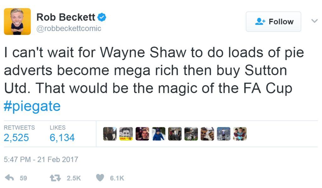 Screengrab of tweet by Rob Beckett