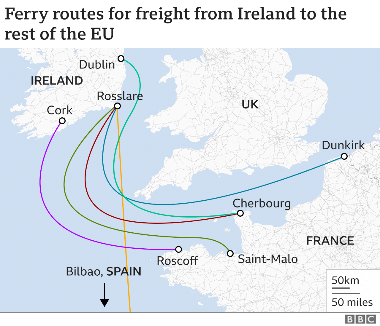 Map showing ferry routes for freight from Ireland the the rest of the EU